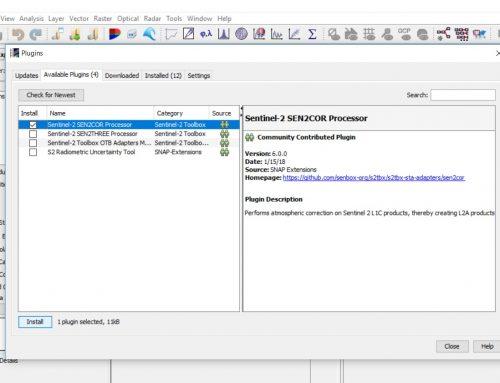 Instalación del componente Sen2Cor en el software gratuito de teledetección SNAP