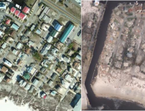 Antes y después del paso del Huracán Michael en México Beach, Florida y USA